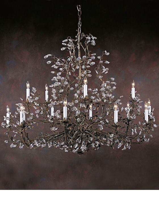 Chandeliers Large Wrought Iron And Swarovski Crystal