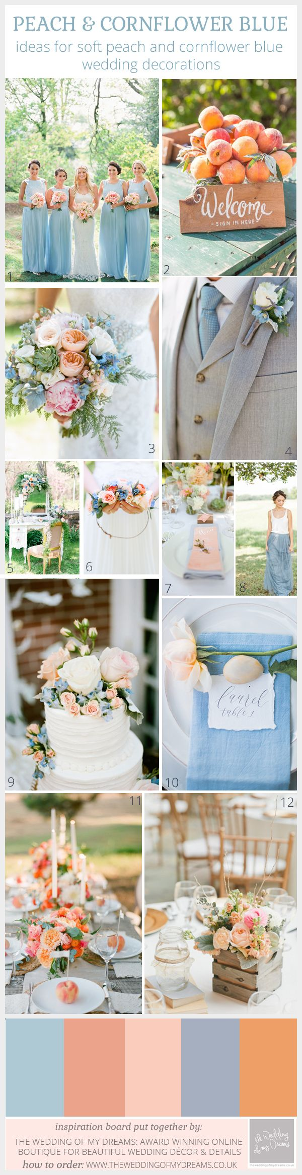 Ivory Peach and Wild Foliage Wedding Ideas  Blue weddings Wedding
