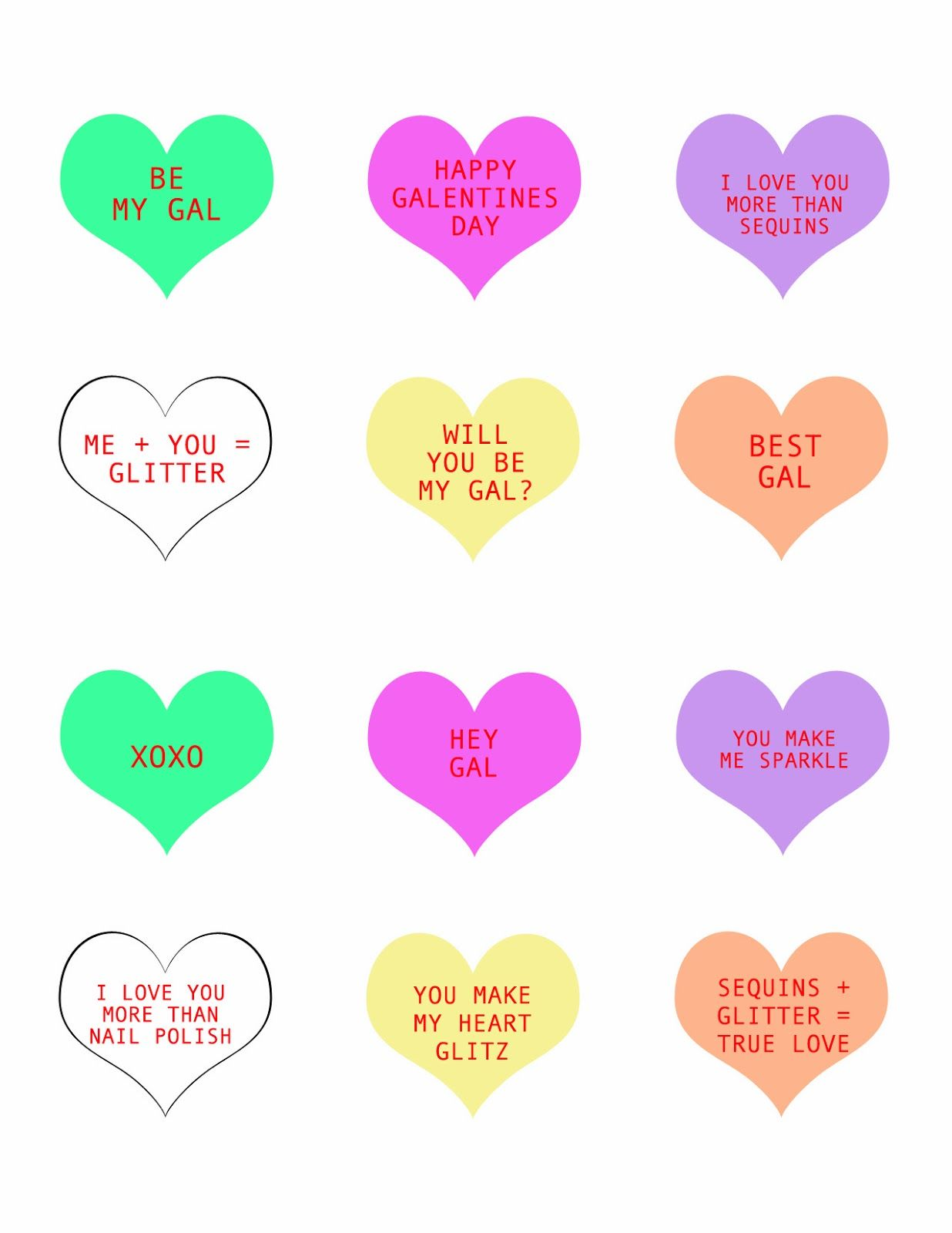 Galentine S Day Conversation Heart Printables