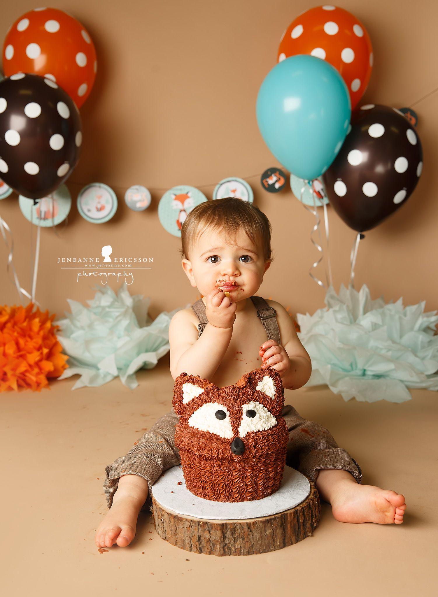 Fox Themed Cake Smash Brown And Orange First Birthday
