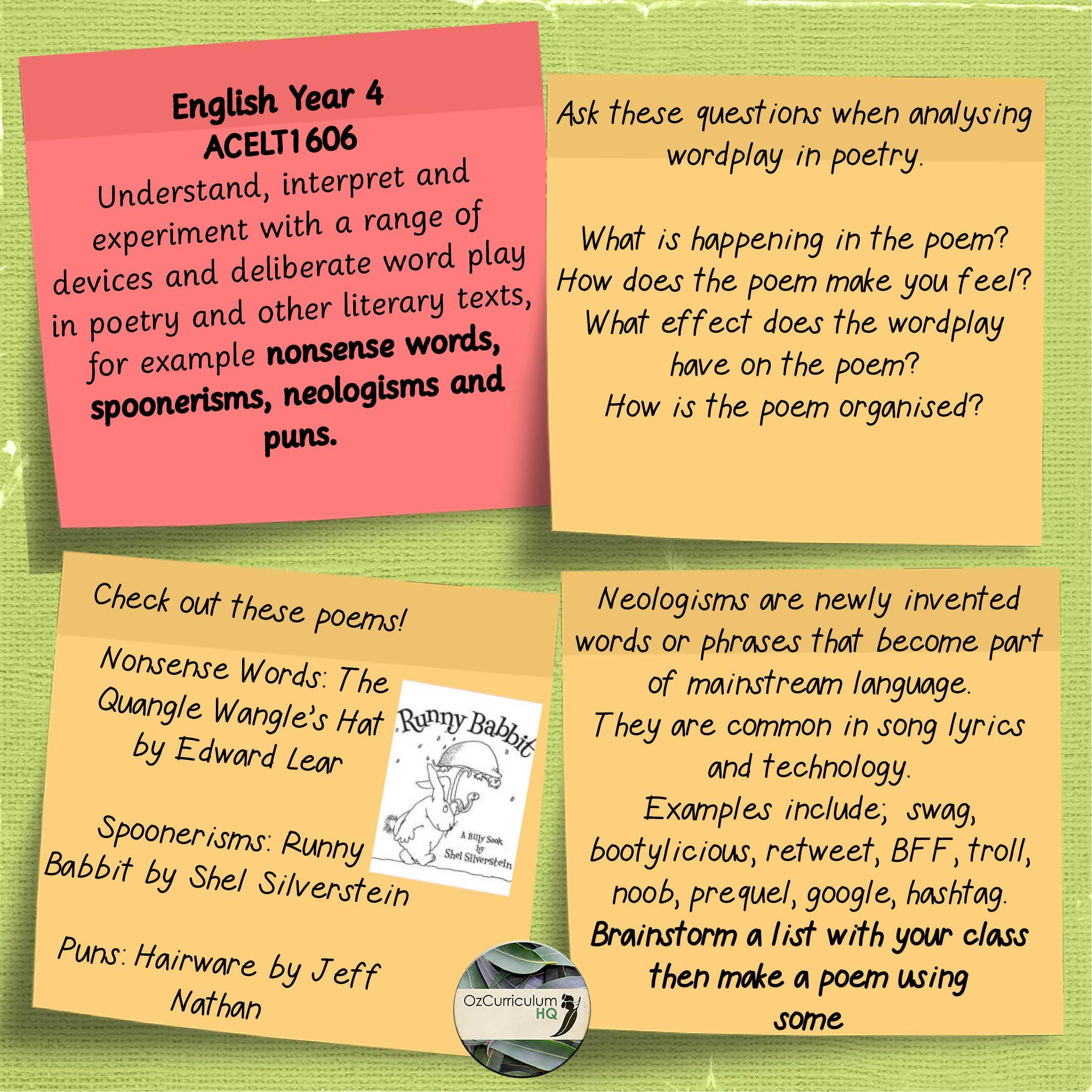 English Year 4 Acelt Nonsense Words Spoonerisms