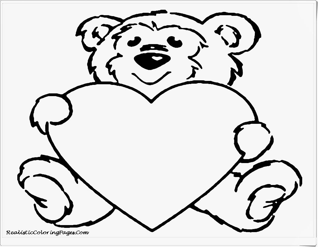 Cute Bear Valentine Animals Coloring Pages