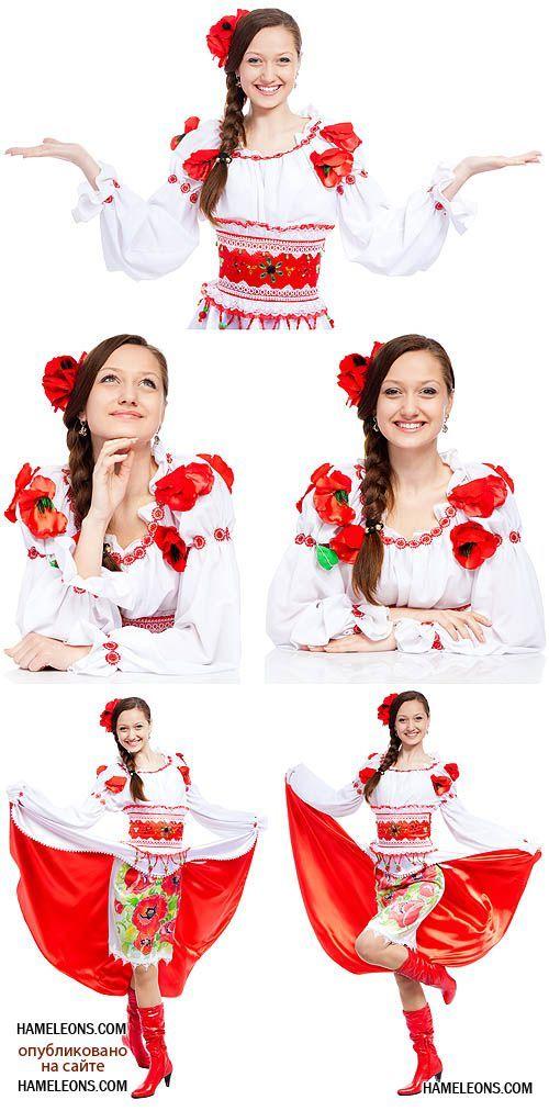 Украинская девушка в национальном костюме на белом фоне ...