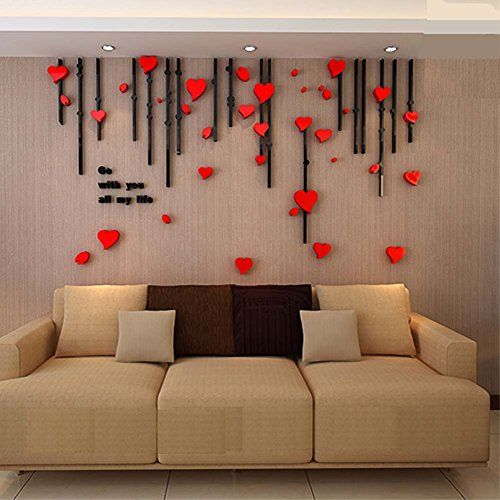 3d heart curtain wall murals for living room bedroom sofa on wall stickers for living room id=68967
