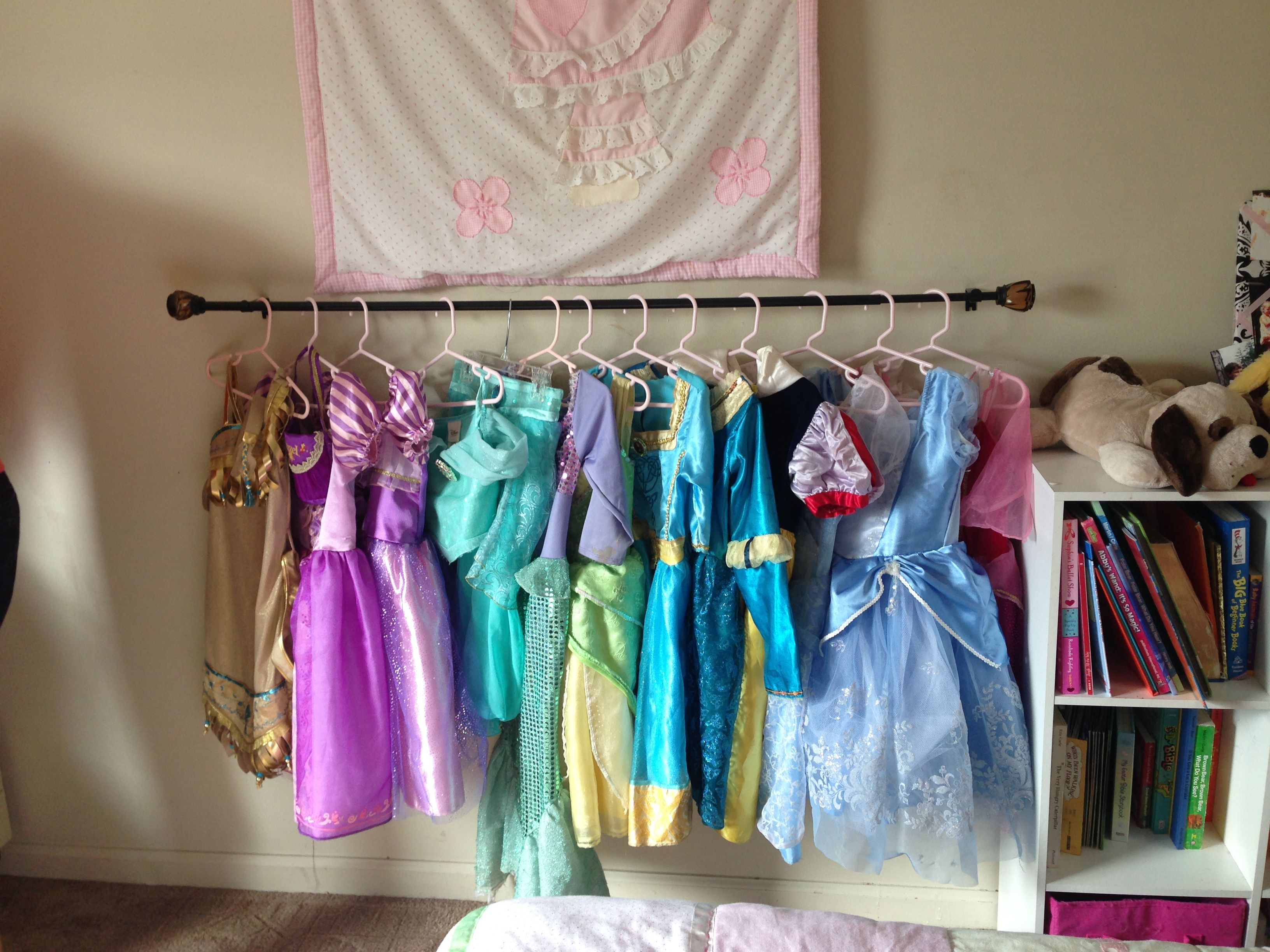 Use A Curtain Rod Mounted To The Wall At Childs Height To Hang Dress Up Clothes On So The