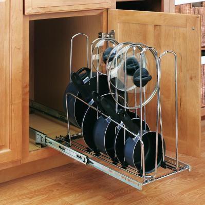 slide out pot pan rack my kitchen pinterest pan rack pan storage and storage on kitchen organization pots and pans id=67446