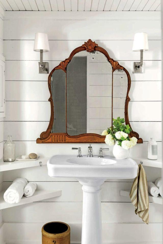 shiplap bathroom wood ceiling antique mirror