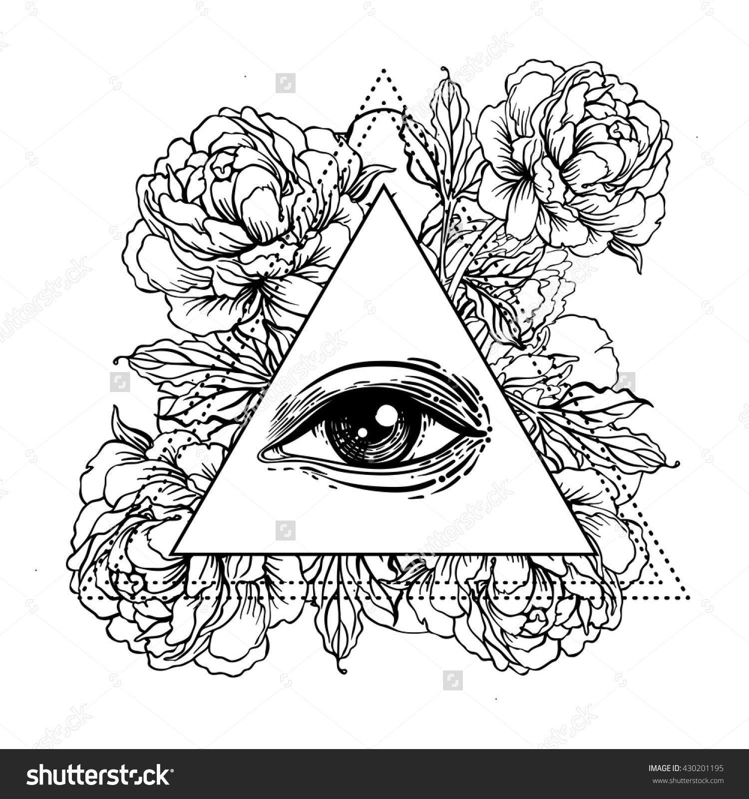 Blackwork Tattoo Flash All Seeing Eye Pyramid Symbol With
