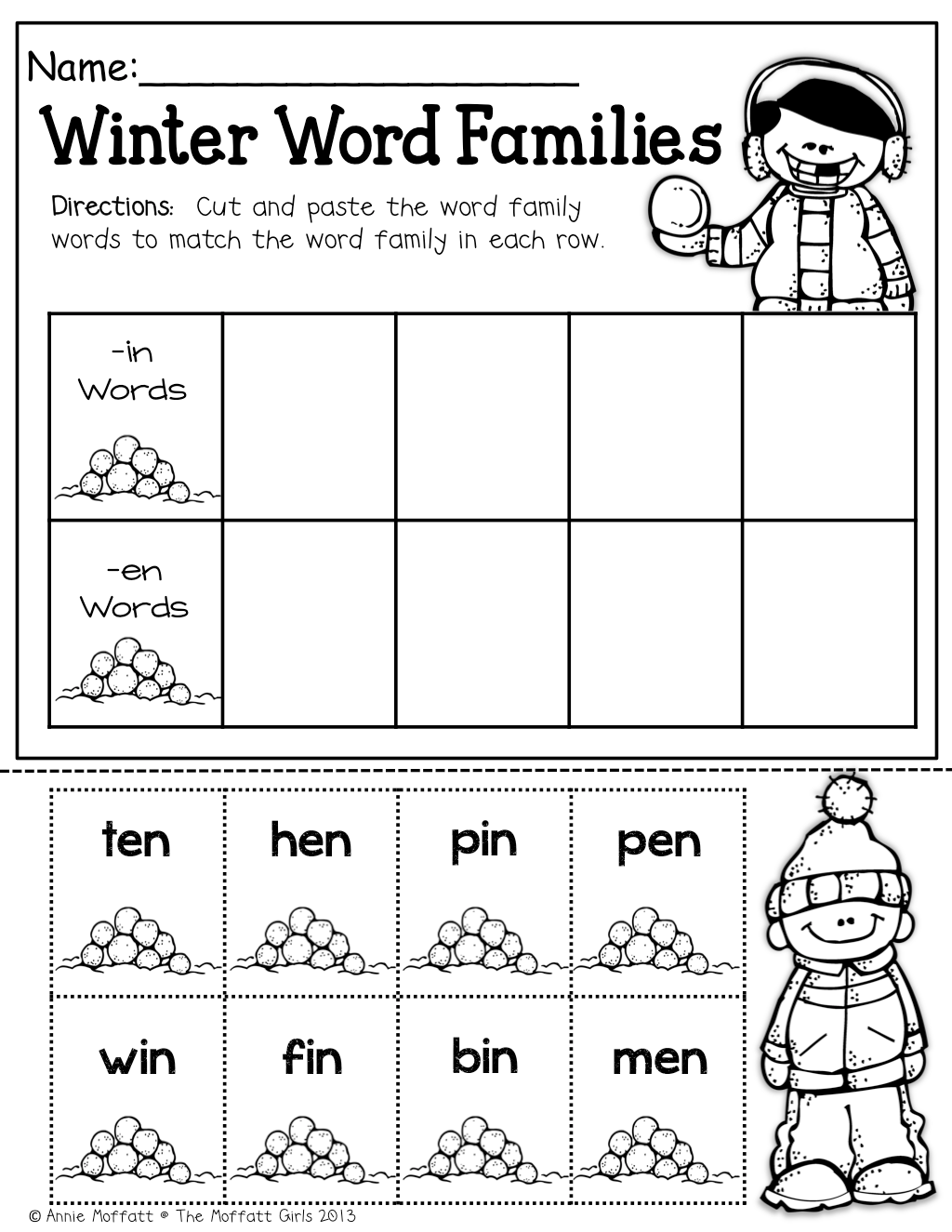Winter Word Families Great Way To Practice Simple Cvc Words Cut And Paste