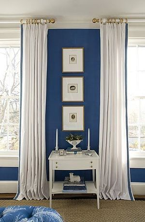 Bedroom By Kelley Proxmire With White Curtains With Blue