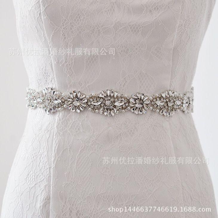 Women us Elegant Luxury Wedding Sash Belt Crystal Pearl Beading