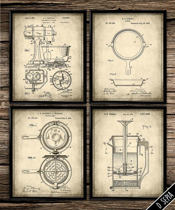 vintage kitchen elements set vintage prints patent print kitchen decor home decor on kitchen decor paintings prints id=31868