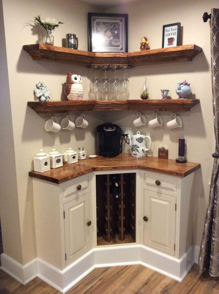 Built in Corner coffee wine bar Home ideas Pinterest Wine