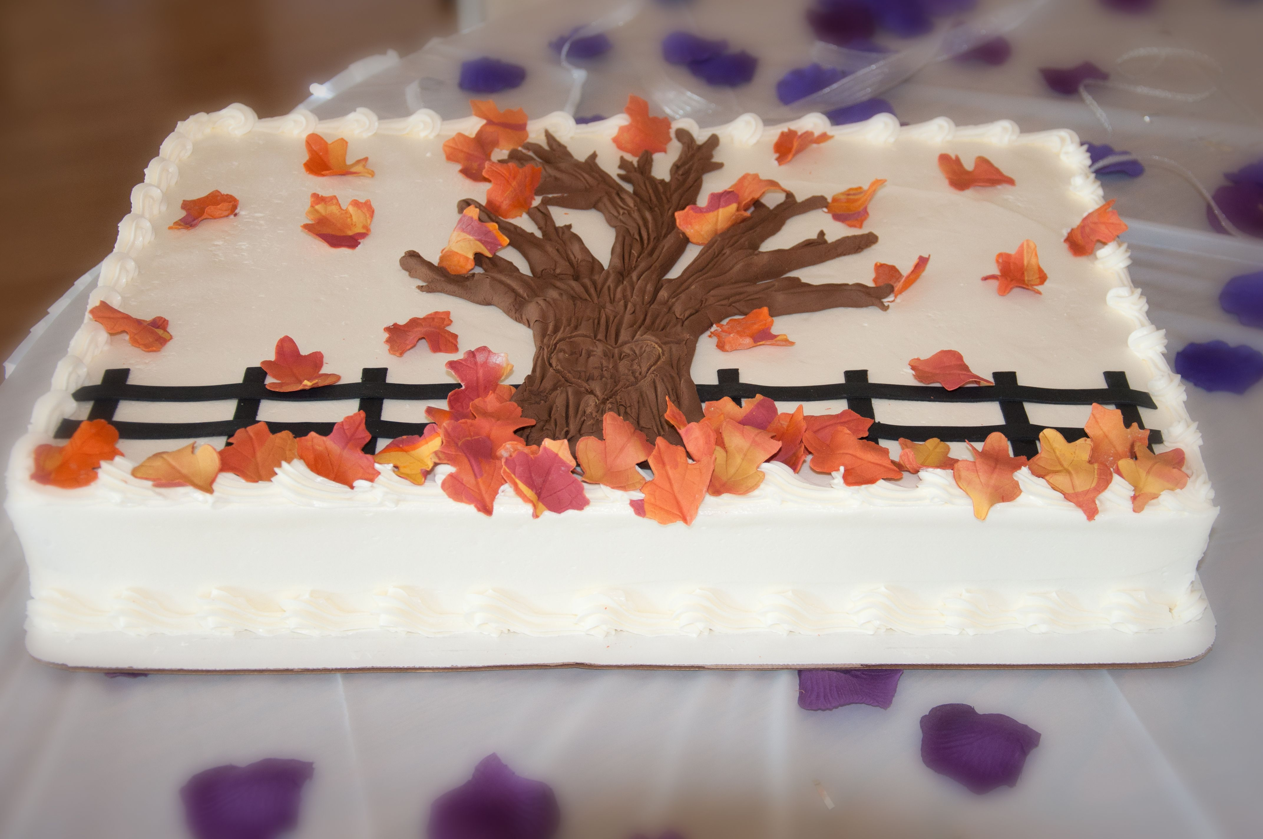 Fall Wedding Sheet Cake With A Carved Heart With Names On