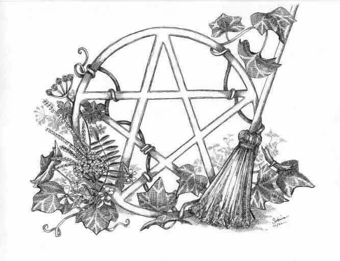 wiccan pentagram coloring sketch coloring page  me