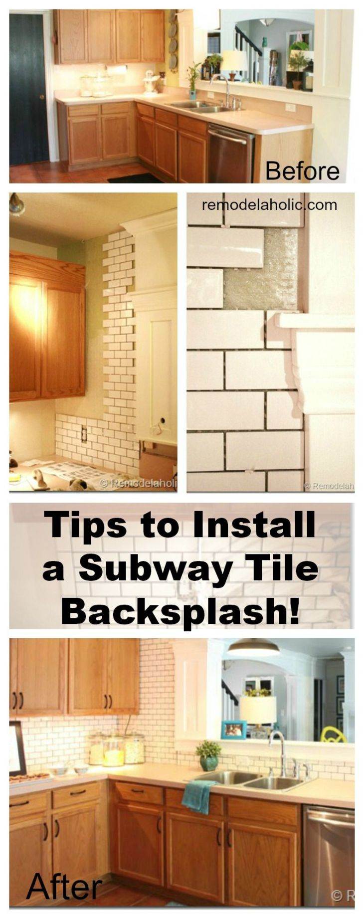 See how we installed a white subway tile back splash in our kitchen