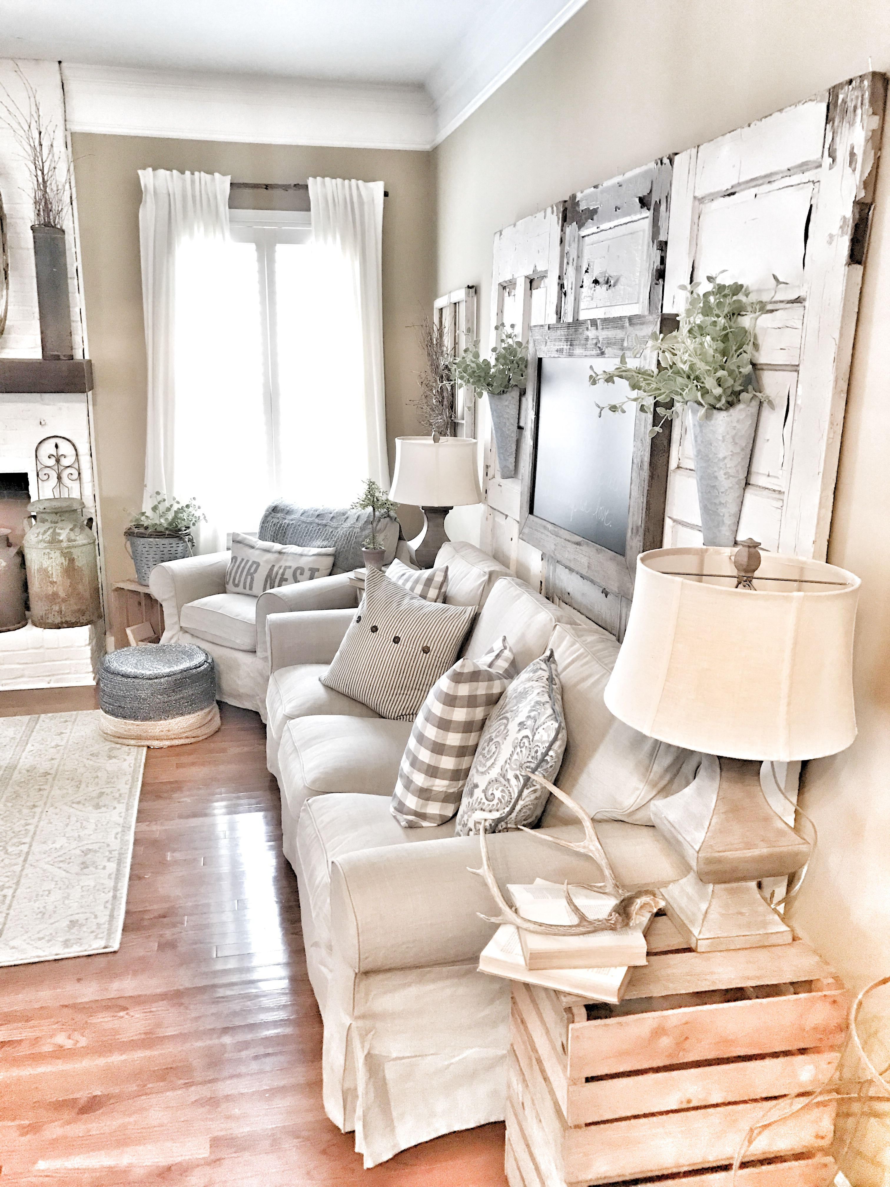 Farmhouse living room! IKEA curtains and couch with chippy ... on Farmhouse Living Room Curtain Ideas  id=36048