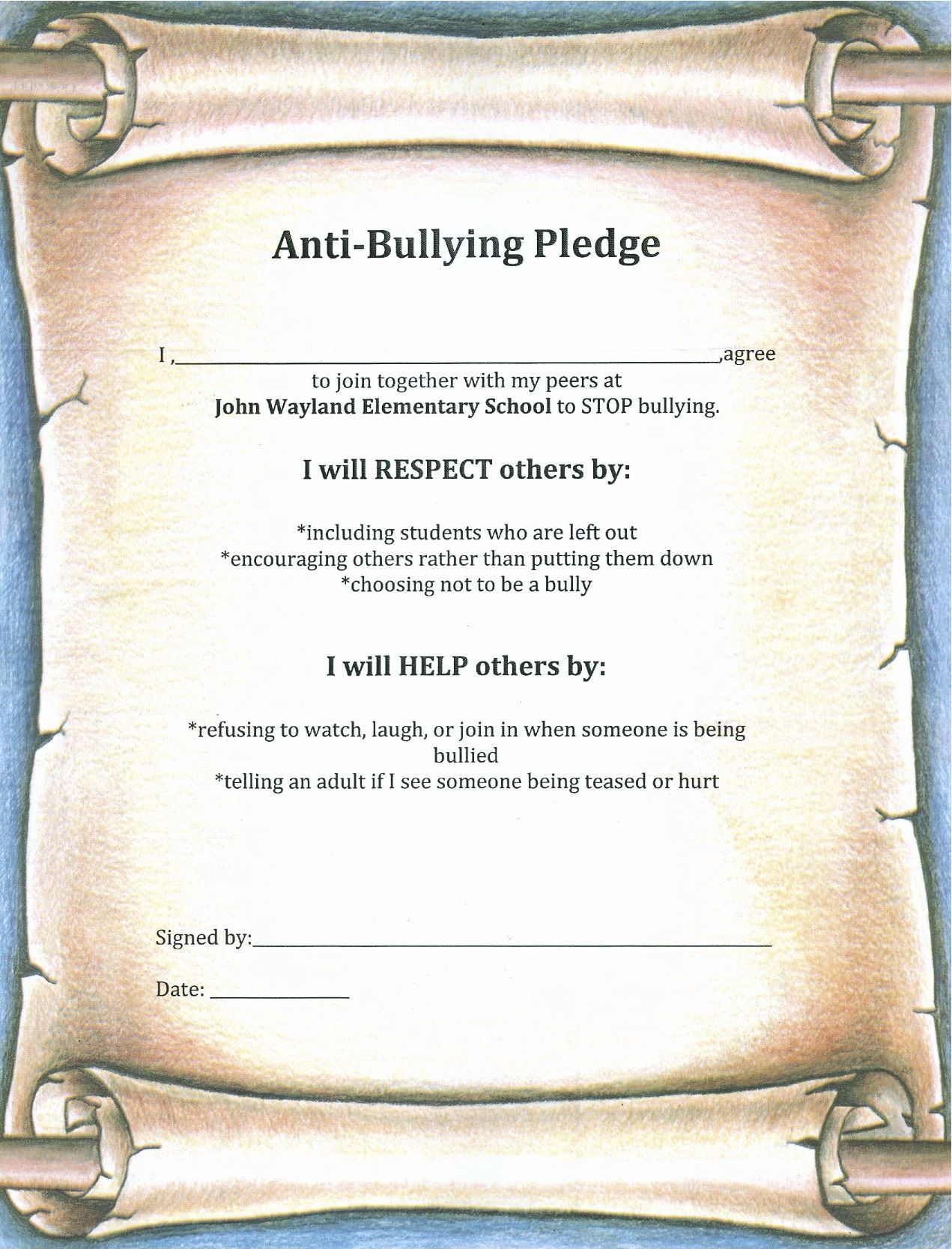 Anti Bullying Pledge Students Will Sign