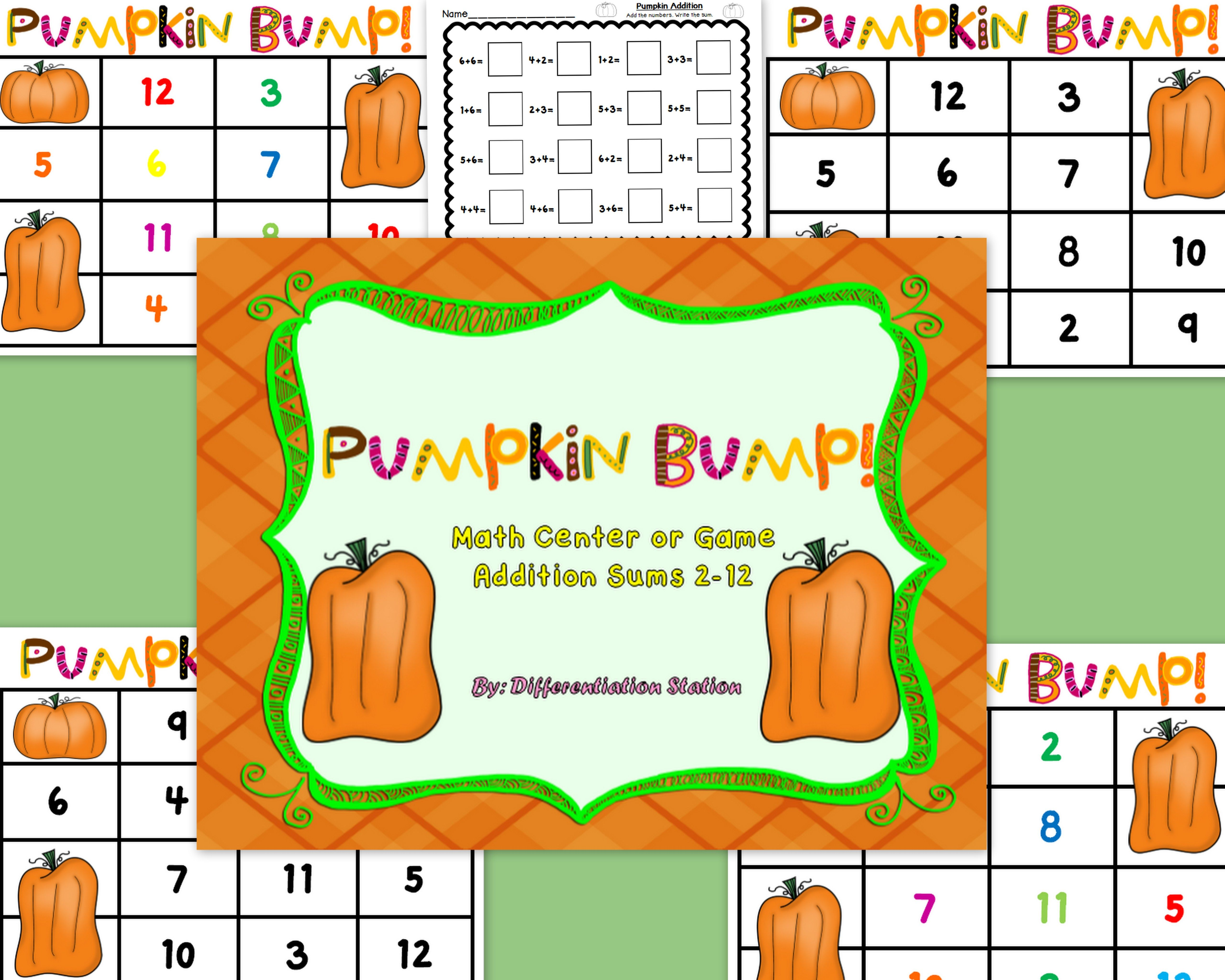 Free Pumpkin Bump A Pumpkin Fall Themed Math Center Game And Printable Addition 2 12