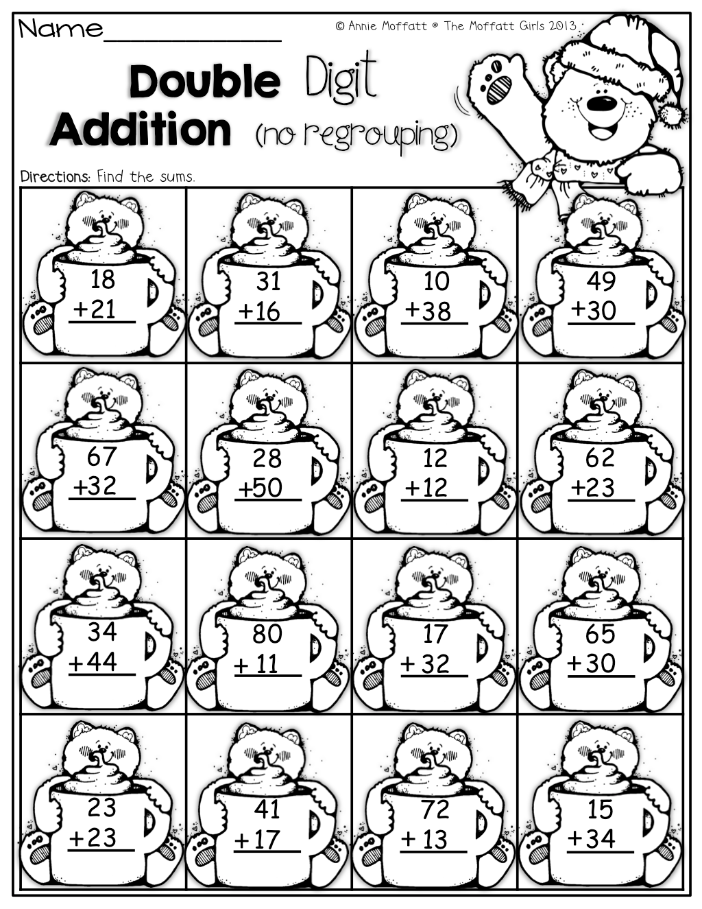 Double Digit Addition With No Regrouping