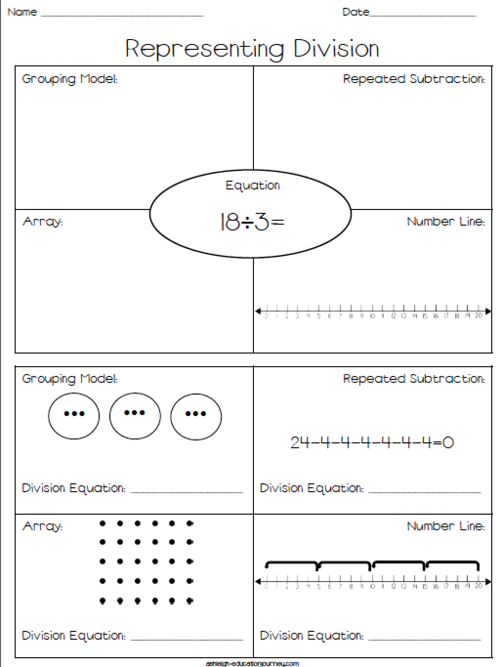 Representing Division Free Worksheet Where Students Represent Division Using Repeated