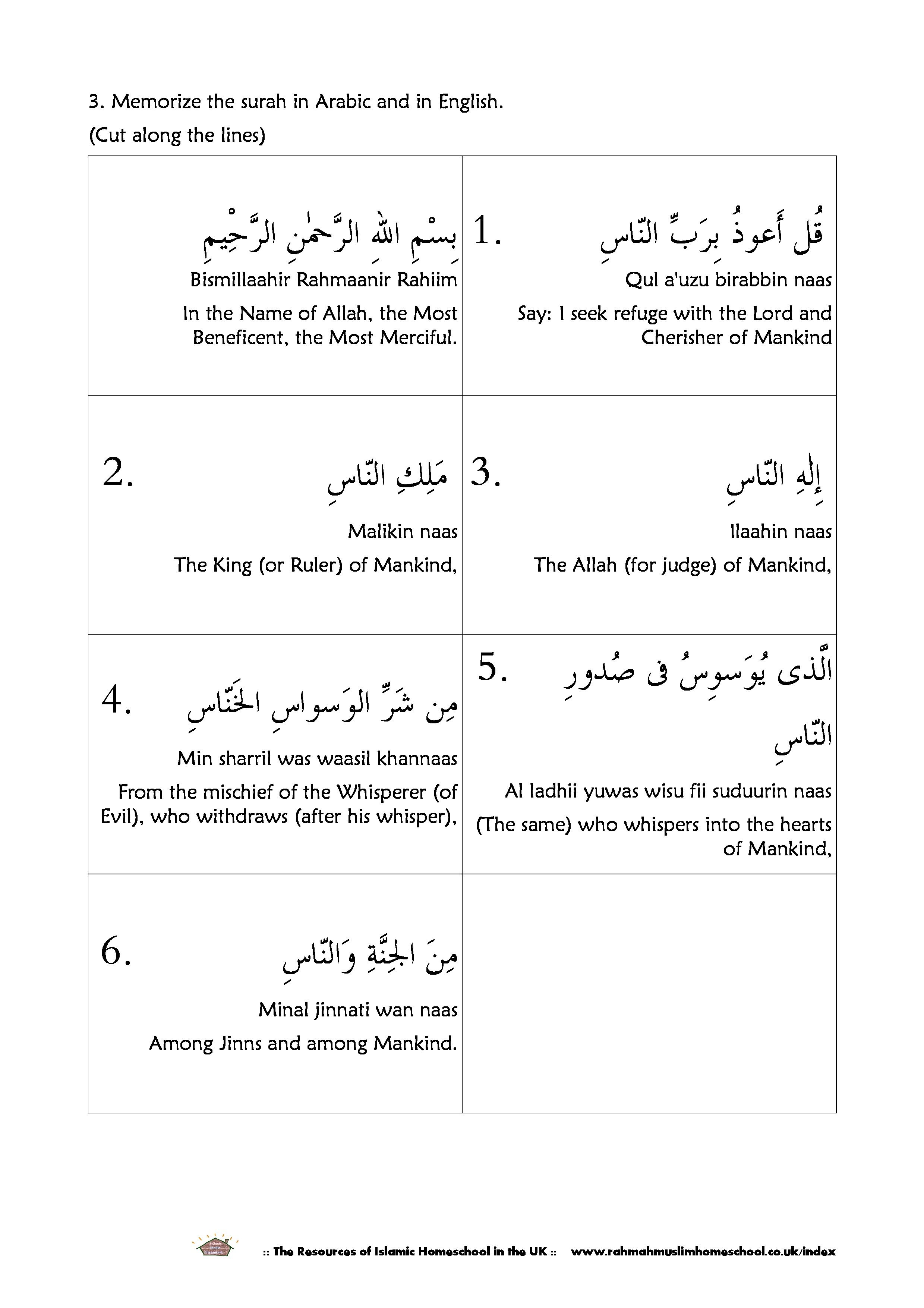 Surah An Nas The Mankind Worksheet