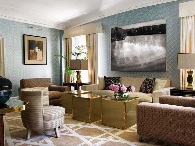 Blue Beige Brass Living Room