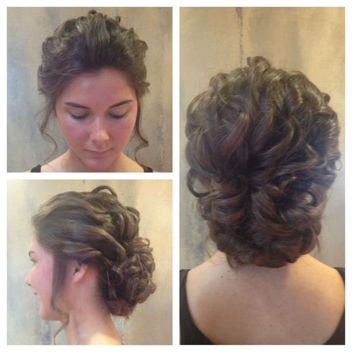 Updo by Katie Loose curls into a low bun Hair
