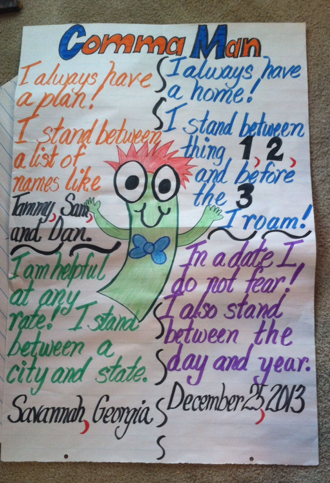 Uses Of Commas Anchor Chart First Grade