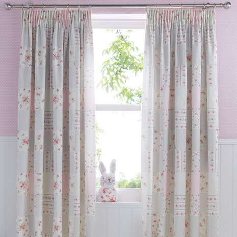 Decorated With A Fl Polka Dot And Gingham Check Print These Pencil Pleat Curtains Pink Bedblackout