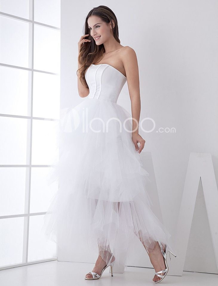 White Classic Strapless Satin Mini Wedding Dress  Mini wedding