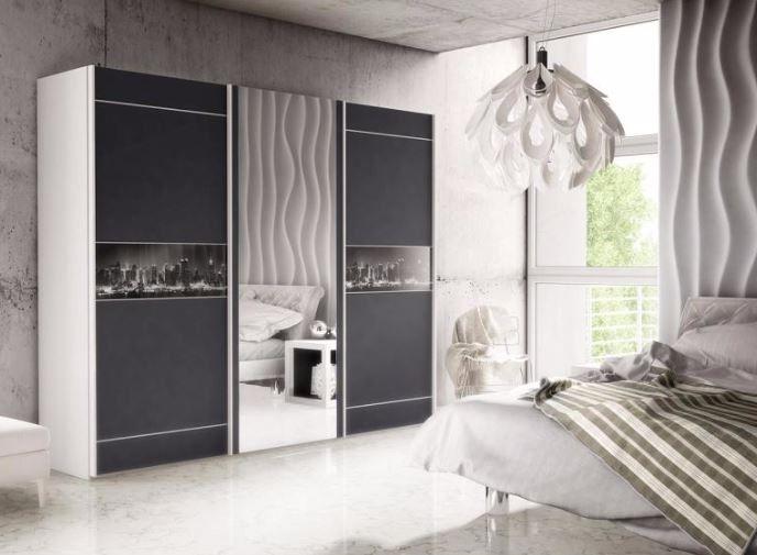 Brand New Modern Bedroom Wardrobe 3 Sliding Door Mirror