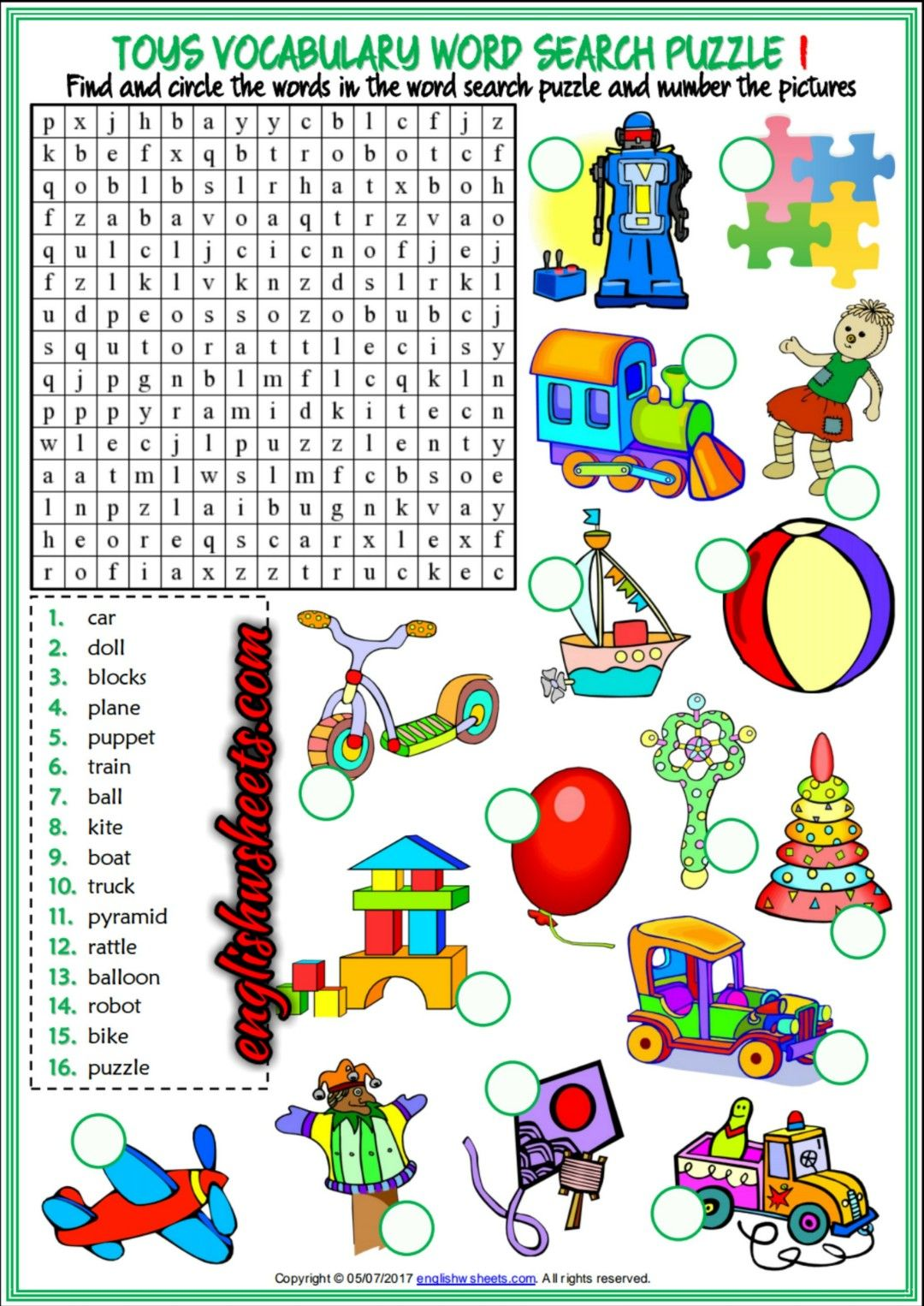 Toys Esl Printable Word Search Puzzle Worksheets For Kids Toys Esl Printables Word Search