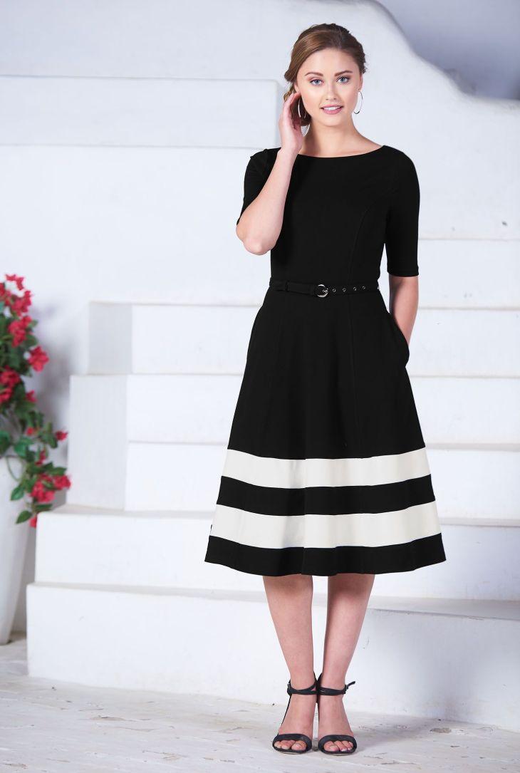 Contrast stripe hem belted cotton knit dress Jersey knit dress