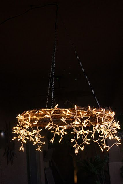 I Like This Better Than The Hoop Chandelier A Grapevine Wreath String Of Icicle