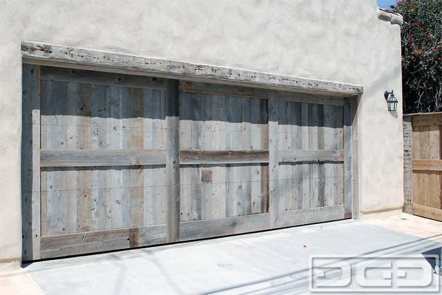 Custom-Made Reclaimed Barn Wood Garage Door In A Rustic