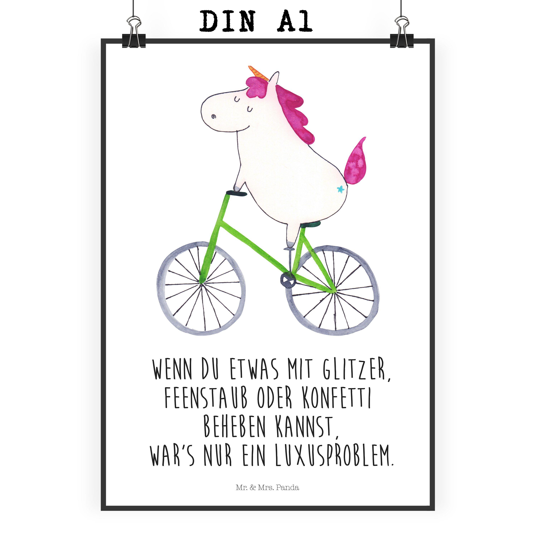 Poster Din A1 Einhorn Radfahrer Aus Papier 160 Gramm Wei