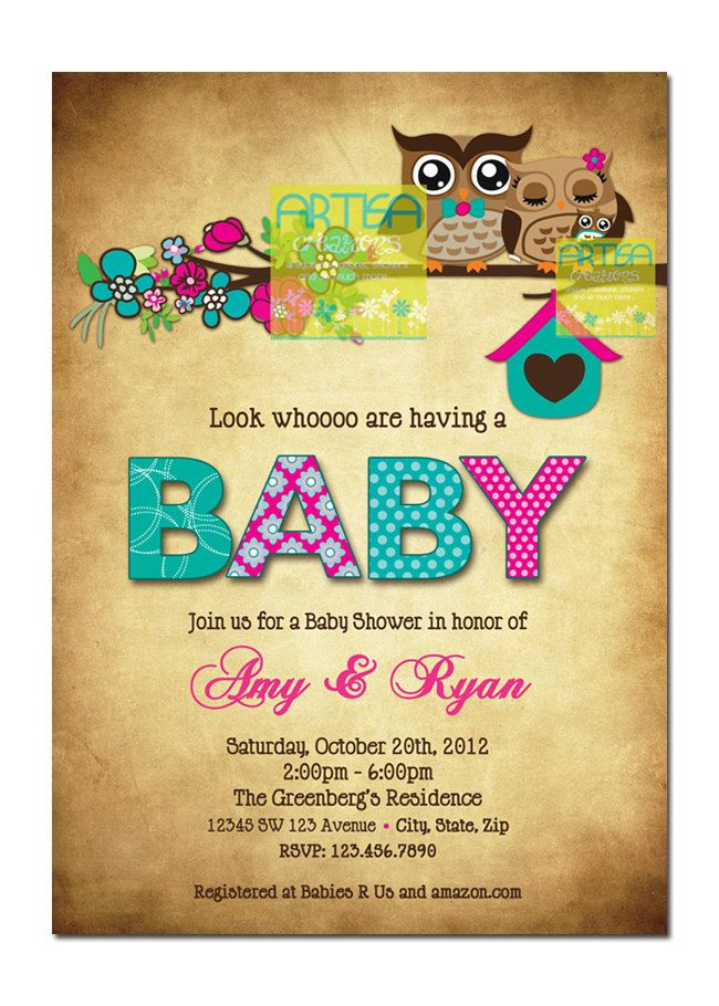 Owl Baby Shower Invitation – Owls Baby Girl Shower Invitation – Pink and Teal Ow
