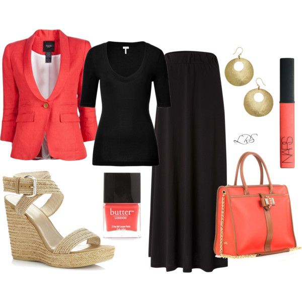 Black Maxi Skirt & Coral, created by lisa-sanner on Polyvore