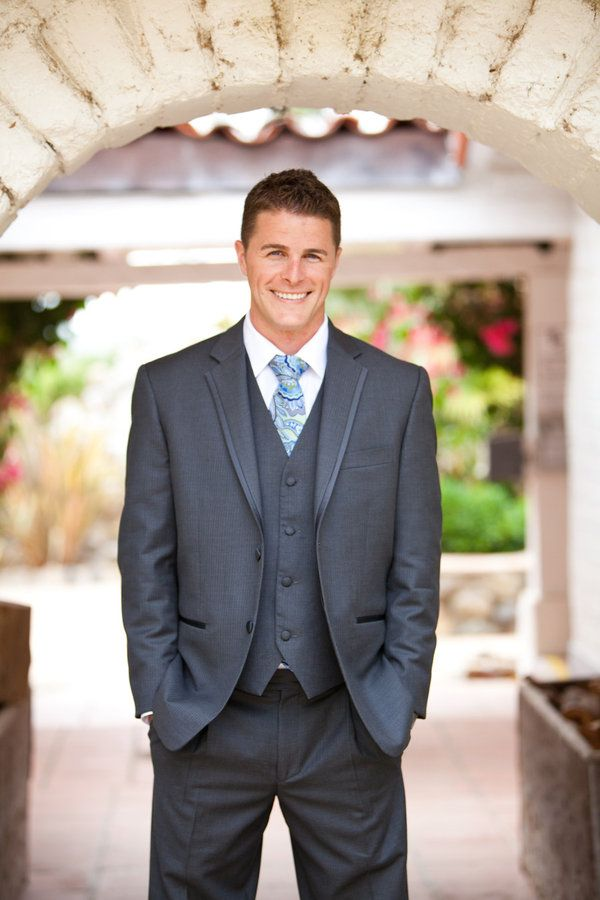 LOVE the gray 3 piece suit with blue paisley tie! Dont forget the pocket square.