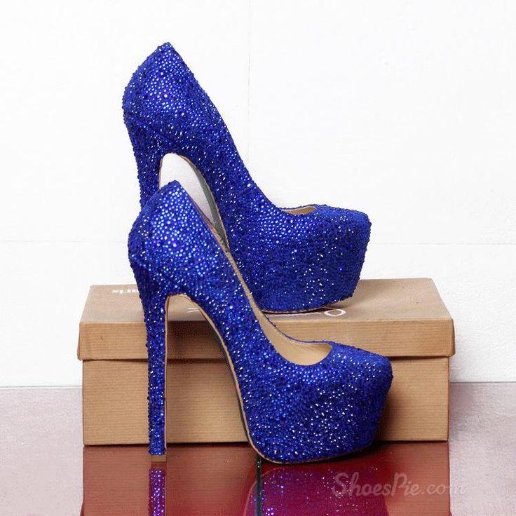 Sparkle Blue Rhinestone Platform Stiletto Heels