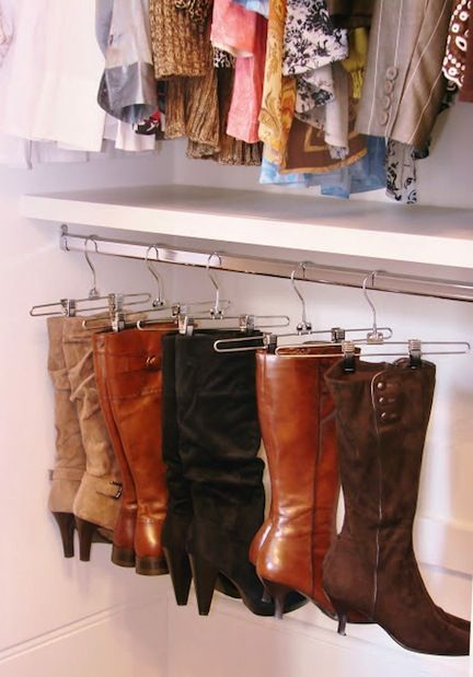 Keep your boots from dust and the leather from creasing by hanging on pants hang
