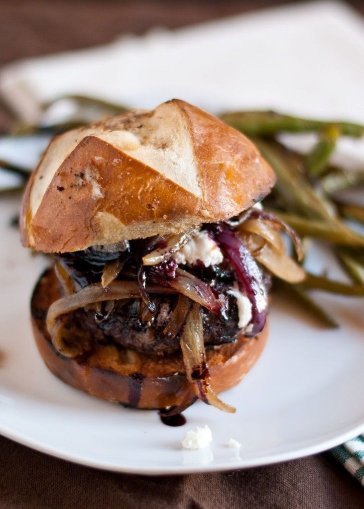Red Wine Burgers with Caramelized Onions and Goat Cheese | Neighborfoodblog.com/