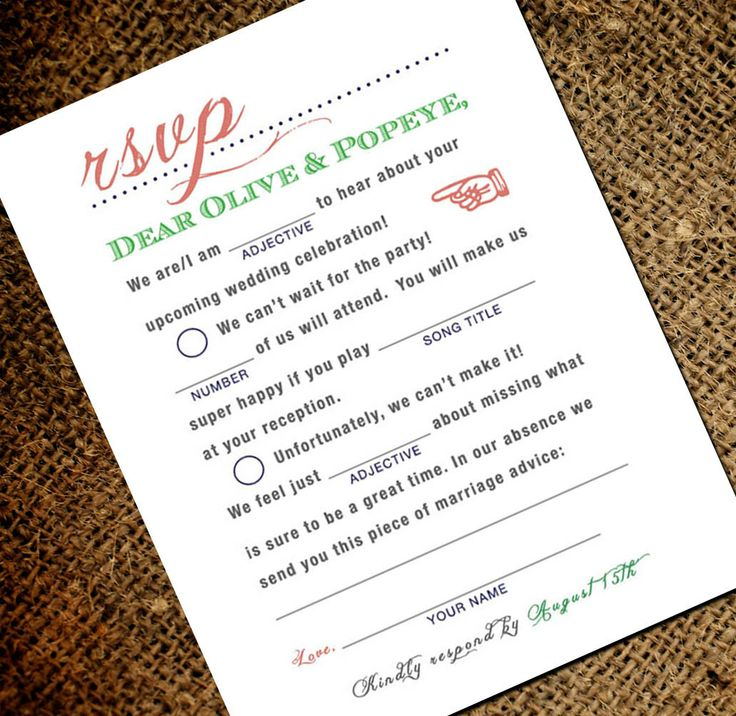 Mad Libs Inspired Vintage Wedding RSVP Postcard – Double Sided Respond Card (fro