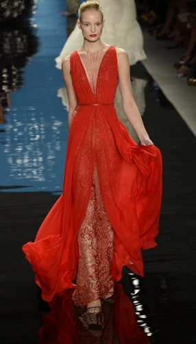 Reem Acra lipstick red gown