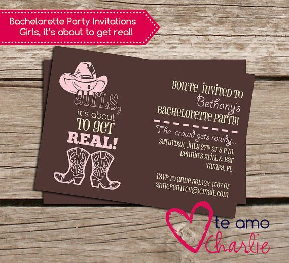 Western Bachelorette Party Invitations $10.00