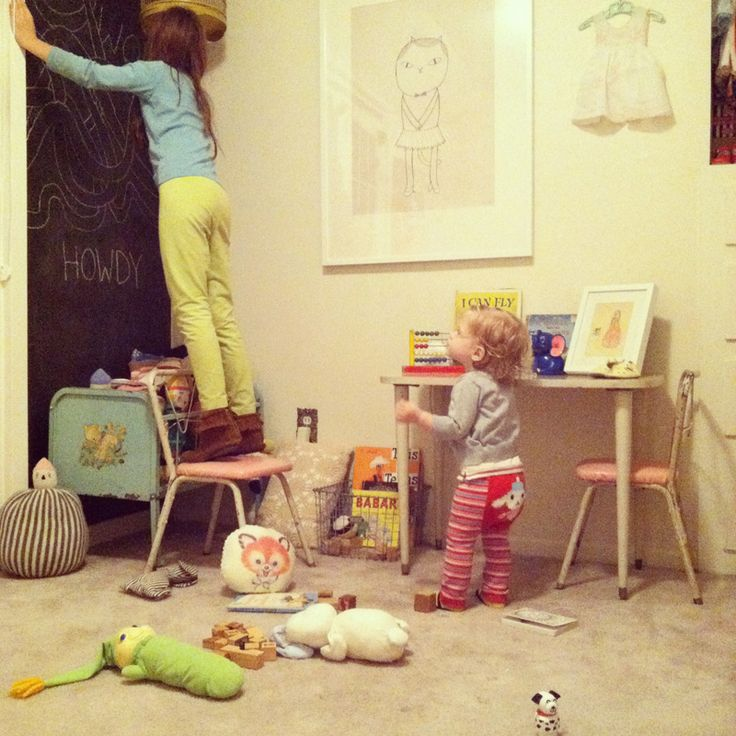 blackboard wall, great art, vintage children's furniture