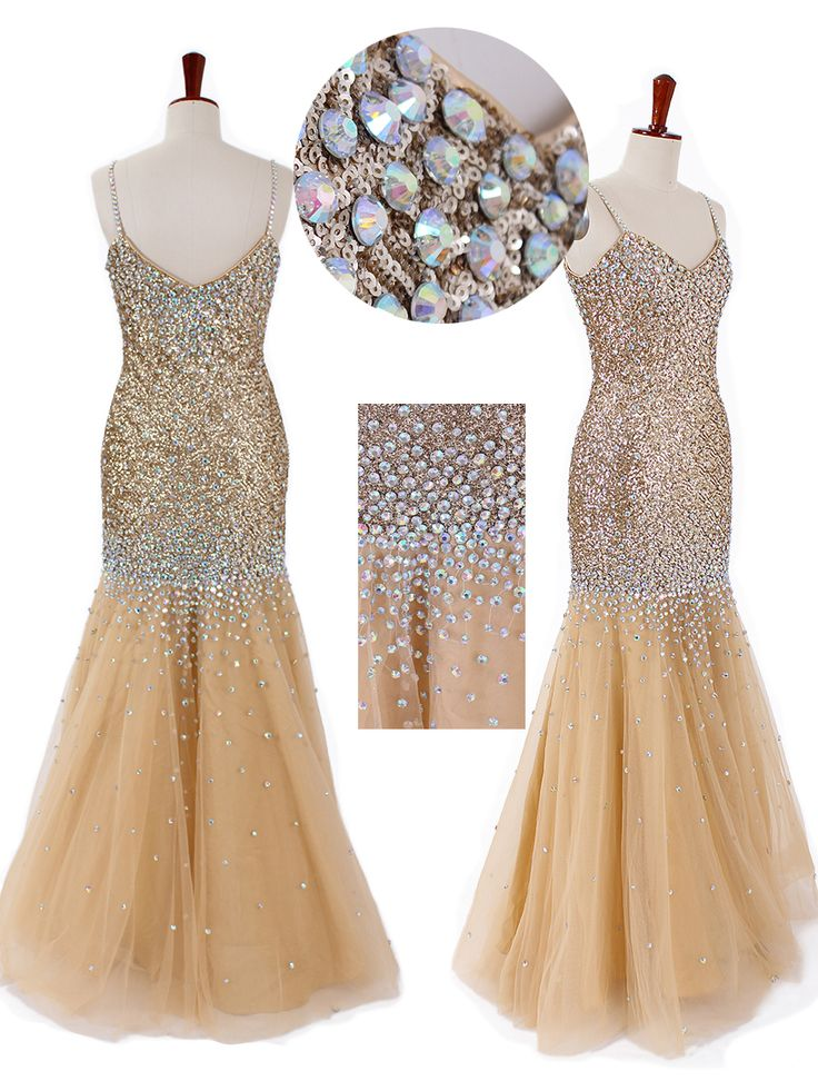 Stunning V-neck spaghetti dress with shiny sequined tulle bodice and tulle skirt