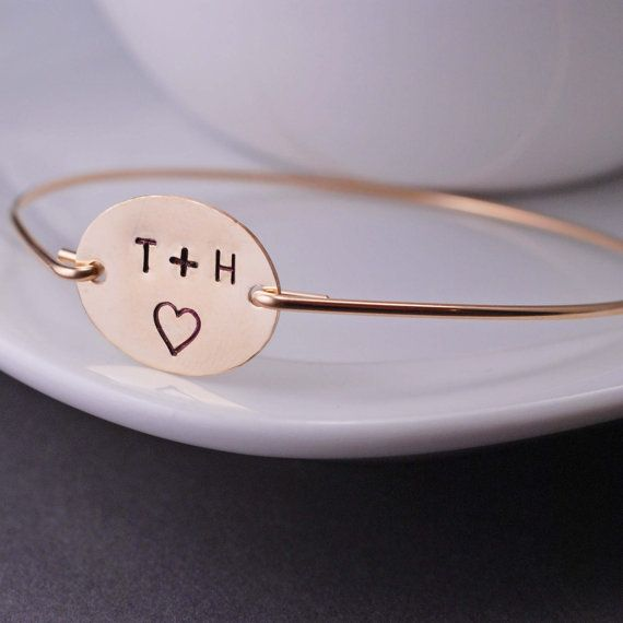 Personalized Valentine Gift for Wife, Anniversary Gift Gold Love Bangle Bracelet