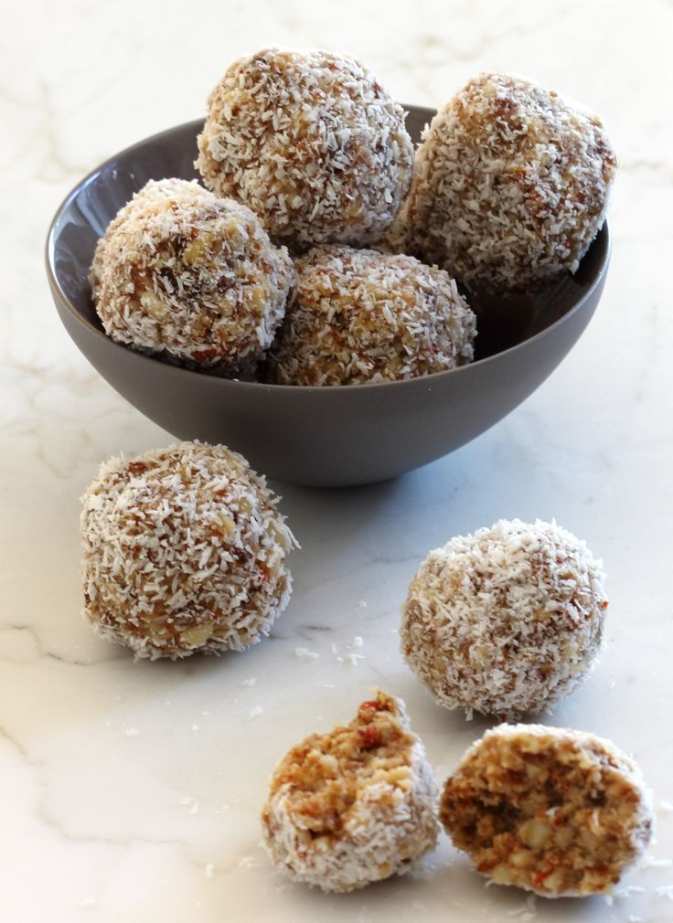 Healthy nut balls – no cooking – raw food.  These are delicious.  I substituted